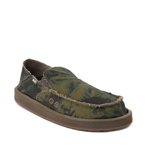 alternate view Mens Sanuk Vagabond ST Slip On Casual Shoe - Green / Navy Tie DyeALT5