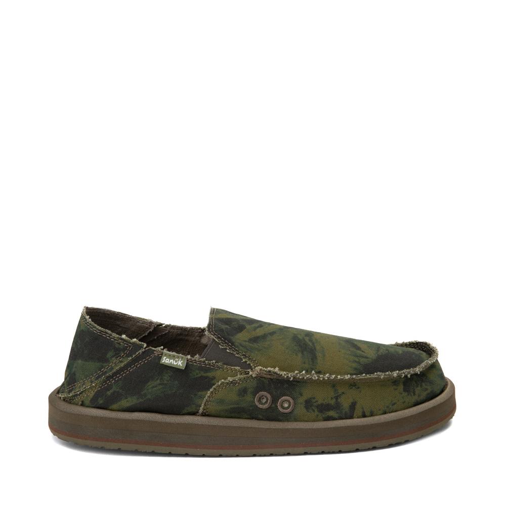 Mens Sanuk Vagabond ST Slip On Casual Shoe - Green / Navy Tie Dye