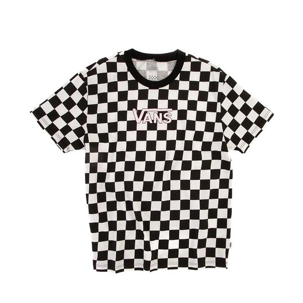 Main view of Vans Drop V Checkerboard Tee - Little Kid / Big Kid - Black / White