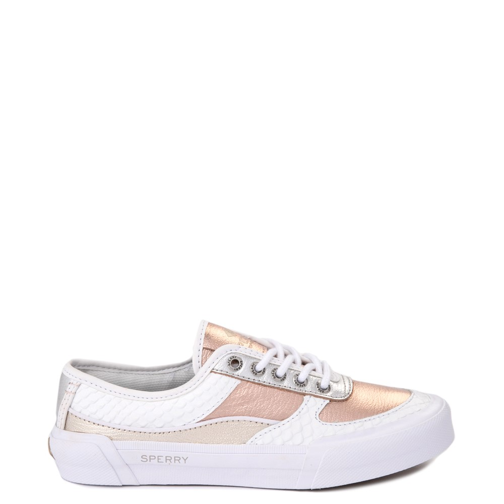 Womens Sperry Top-Sider Soletide Sneaker - White / Rose Gold