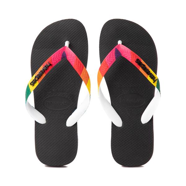 Main view of Womens Havaianas Top Pride Sandal - Black / Rainbow