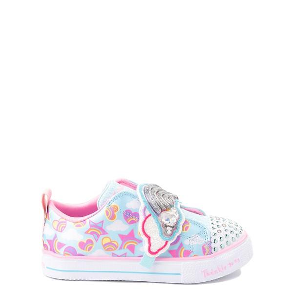 Main view of Skechers Twinkle Toes Shuffle Lites Rainbow Sprinkles Sneaker - Toddler / Little Kid - Light Blue