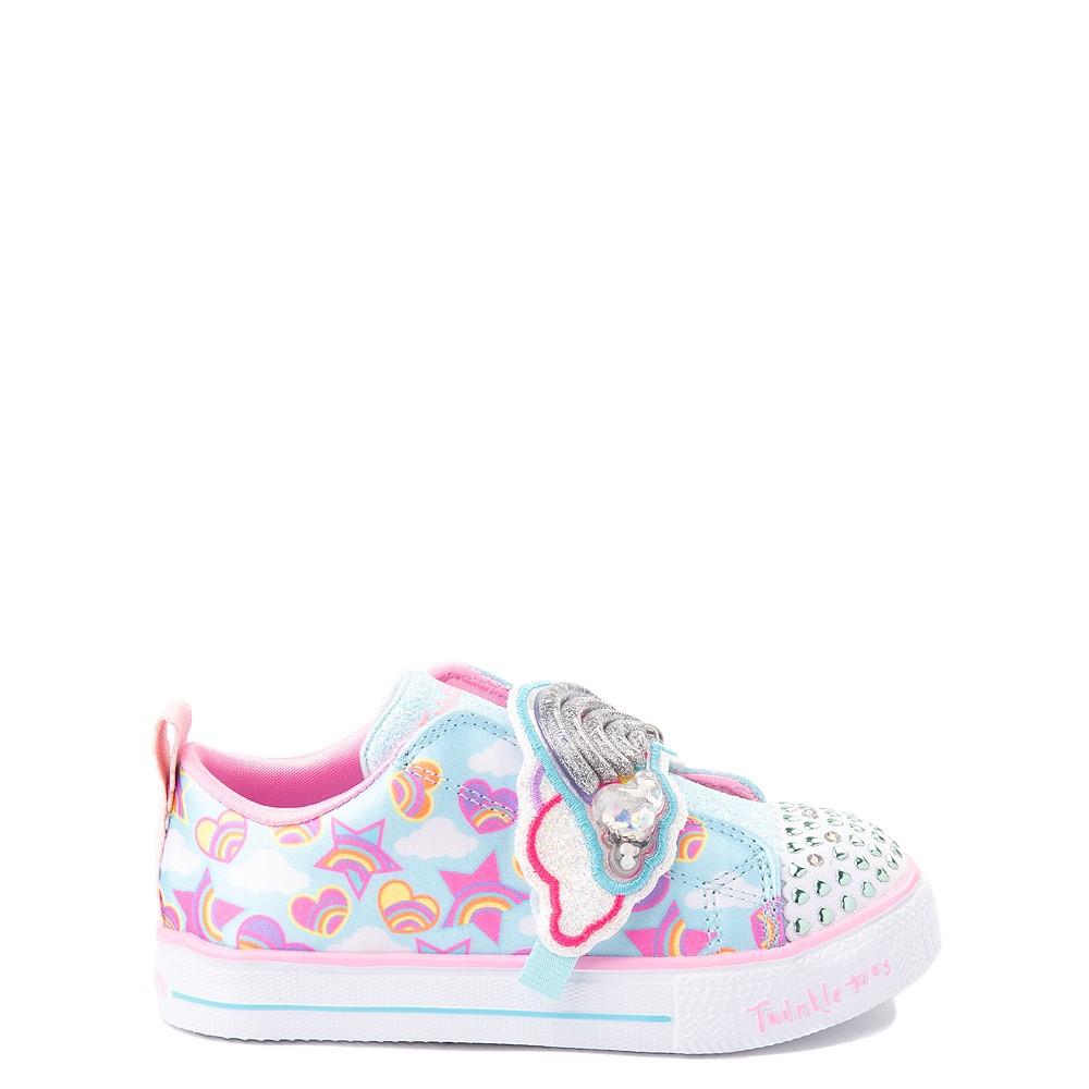 Skechers Twinkle Toes Shuffle Lites Rainbow Sprinkles Sneaker - Toddler / Little Kid - Light Blue