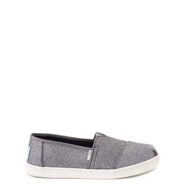Main view of TOMS Classic Glitter Slip On Casual Shoe - Little Kid / Big Kid - Pewter