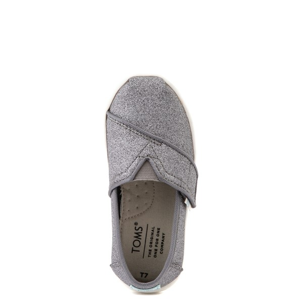 alternate view TOMS Classic Glitter Slip On Casual Shoe - Baby / Toddler / Little Kid - PewterALT2