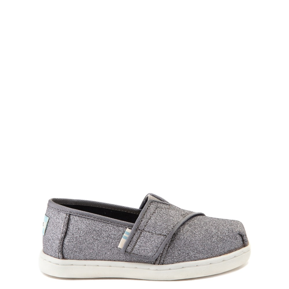 TOMS Classic Glitter Slip On Casual Shoe - Baby / Toddler / Little Kid - Pewter