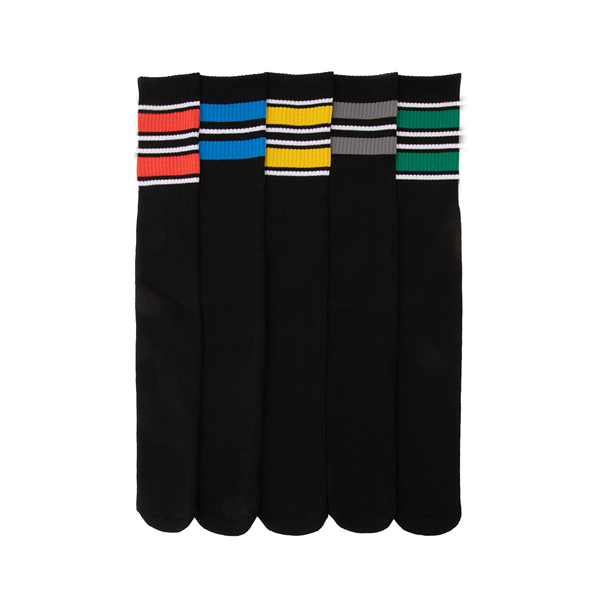 Mens Glow Stripe Tube Socks 5 Pack - Black / Multicolor