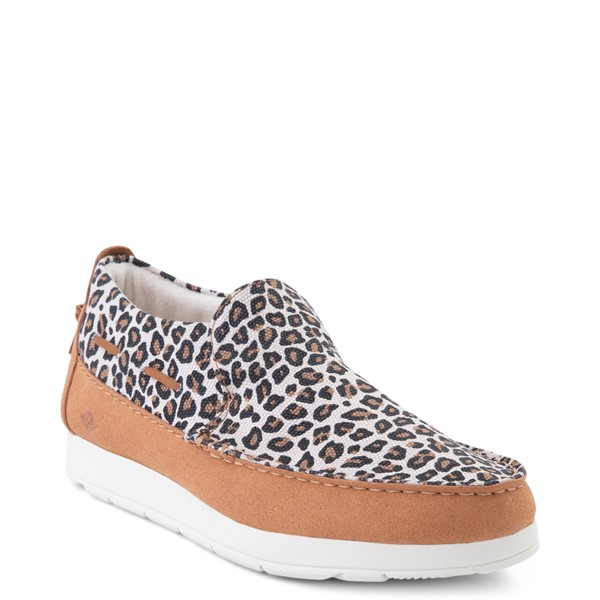 alternate view Womens Sperry Top-Sider Moc-Sider Slip On Casual Shoe - LeopardALT5