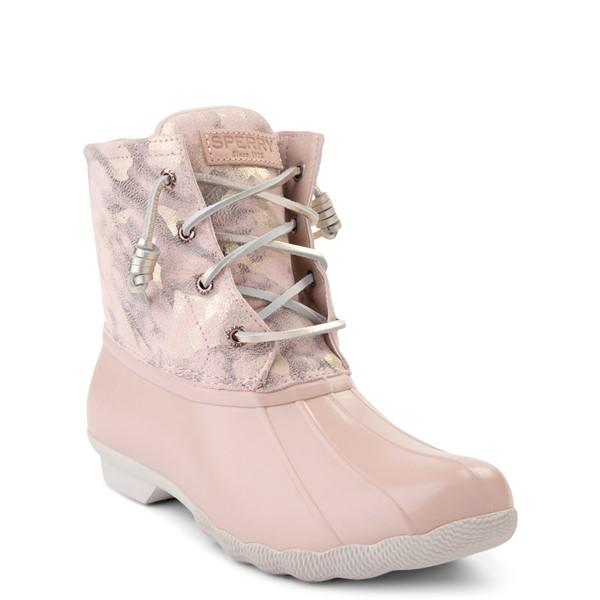 alternate view Womens Sperry Top-Sider Saltwater Duck Boot - Pink / Metallic CamoALT5