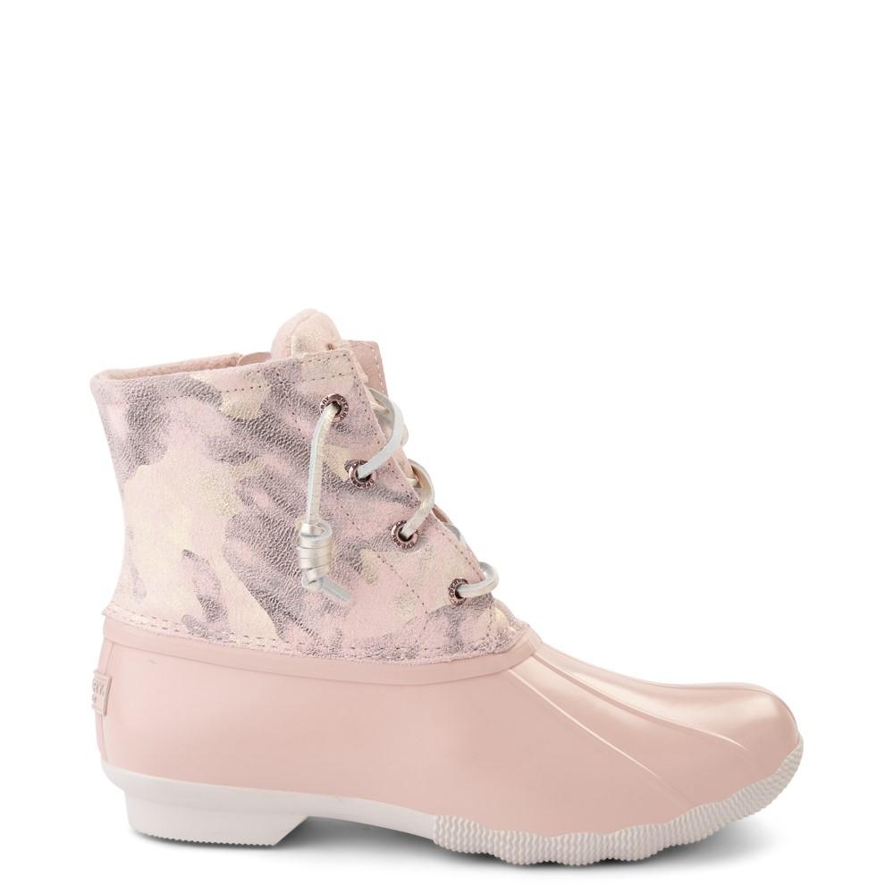Womens Sperry Top-Sider Saltwater Duck Boot - Pink / Metallic Camo