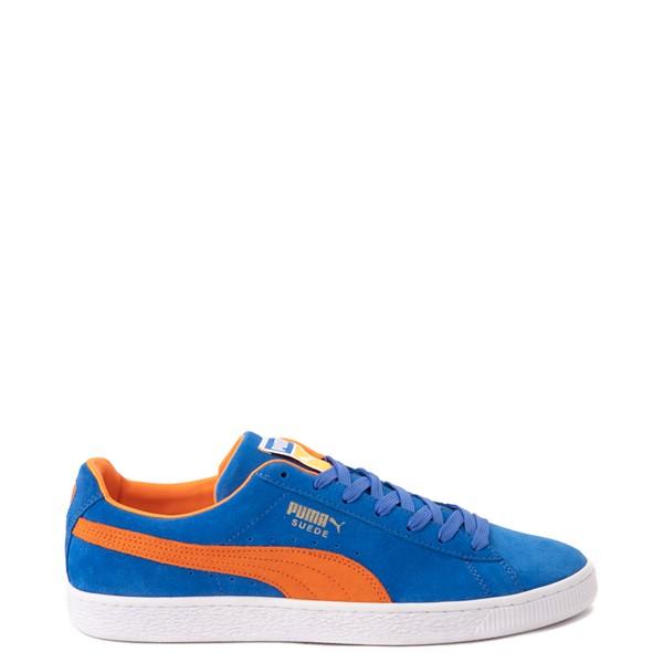 Main view of Mens Puma Suede Athletic Shoe - Royal Blue / Vibrant Orange