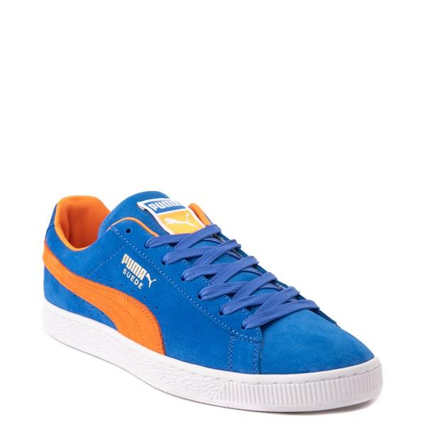 alternate view Mens Puma Suede Athletic Shoe - Royal Blue / Vibrant OrangeALT5