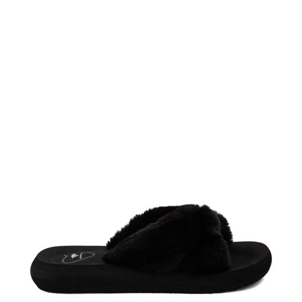 Womens Rocket Dog Slade Fur Slide Sandal - Black