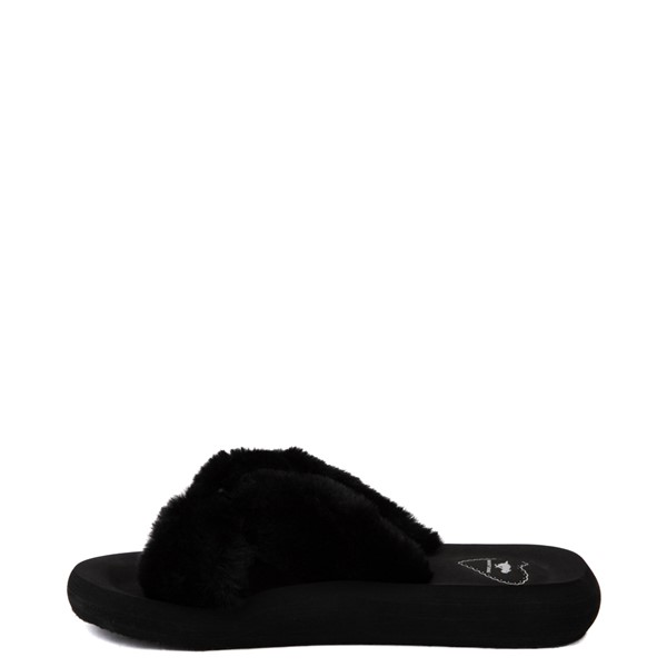 alternate view Womens Rocket Dog Slade Fur Slide Sandal - BlackALT1