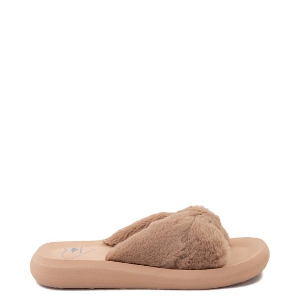 Womens Rocket Dog Slade Fur Slide Sandal - Tan