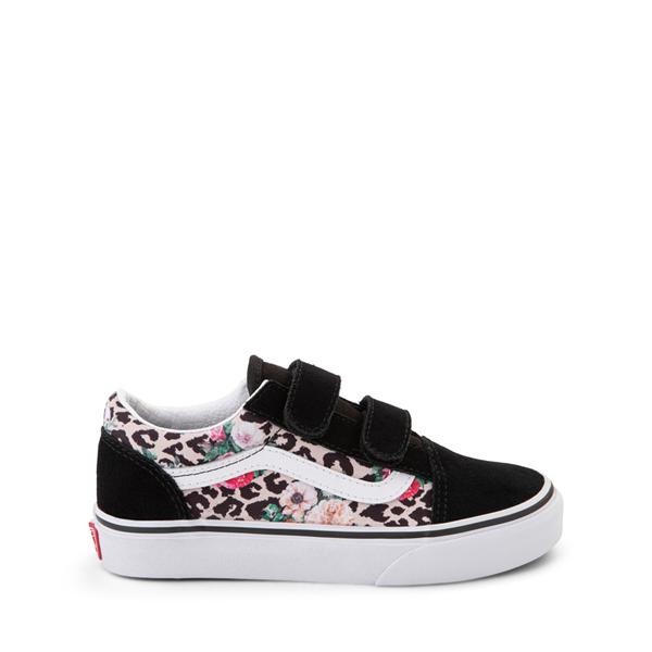 Main view of Vans Old Skool V Skate Shoe - Little Kid - Black / Leopard Floral