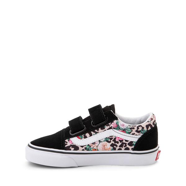 alternate view Vans Old Skool V Skate Shoe - Little Kid - Black / Leopard FloralALT1