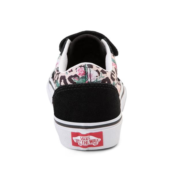 alternate view Vans Old Skool V Skate Shoe - Little Kid - Black / Leopard FloralALT4
