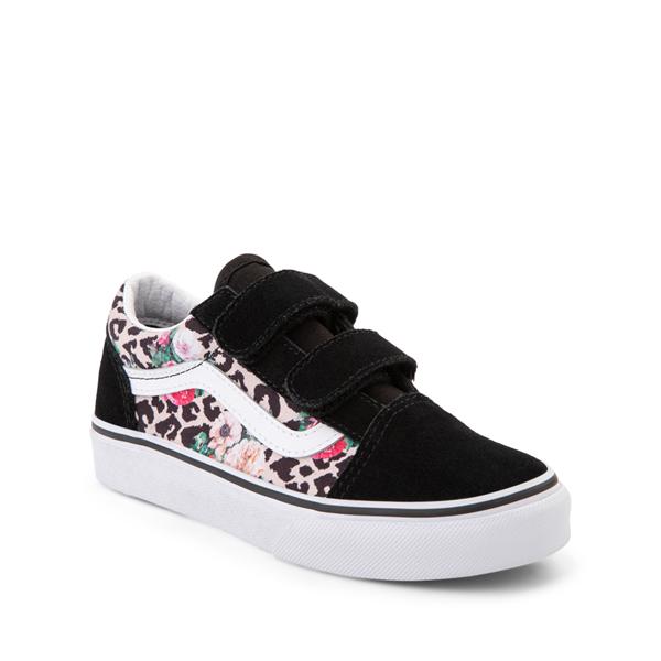 alternate view Vans Old Skool V Skate Shoe - Little Kid - Black / Leopard FloralALT5