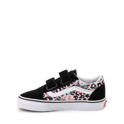 Alternate view of Vans Old Skool V Skate Shoe - Little Kid - Black / Leopard Floral