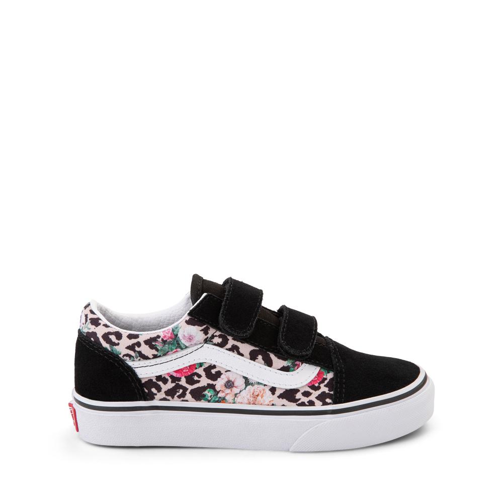 Vans Old Skool V Skate Shoe - Little Kid - Black / Leopard Floral