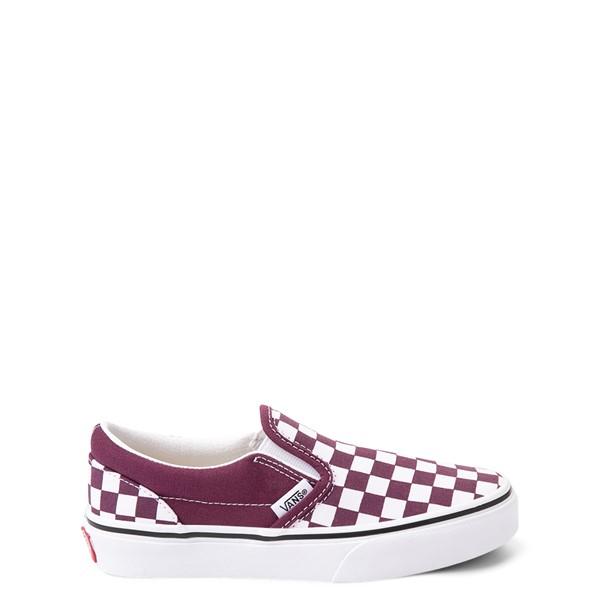 Main view of Vans Slip On Checkerboard Skate Shoe - Little Kid - Grape Wine