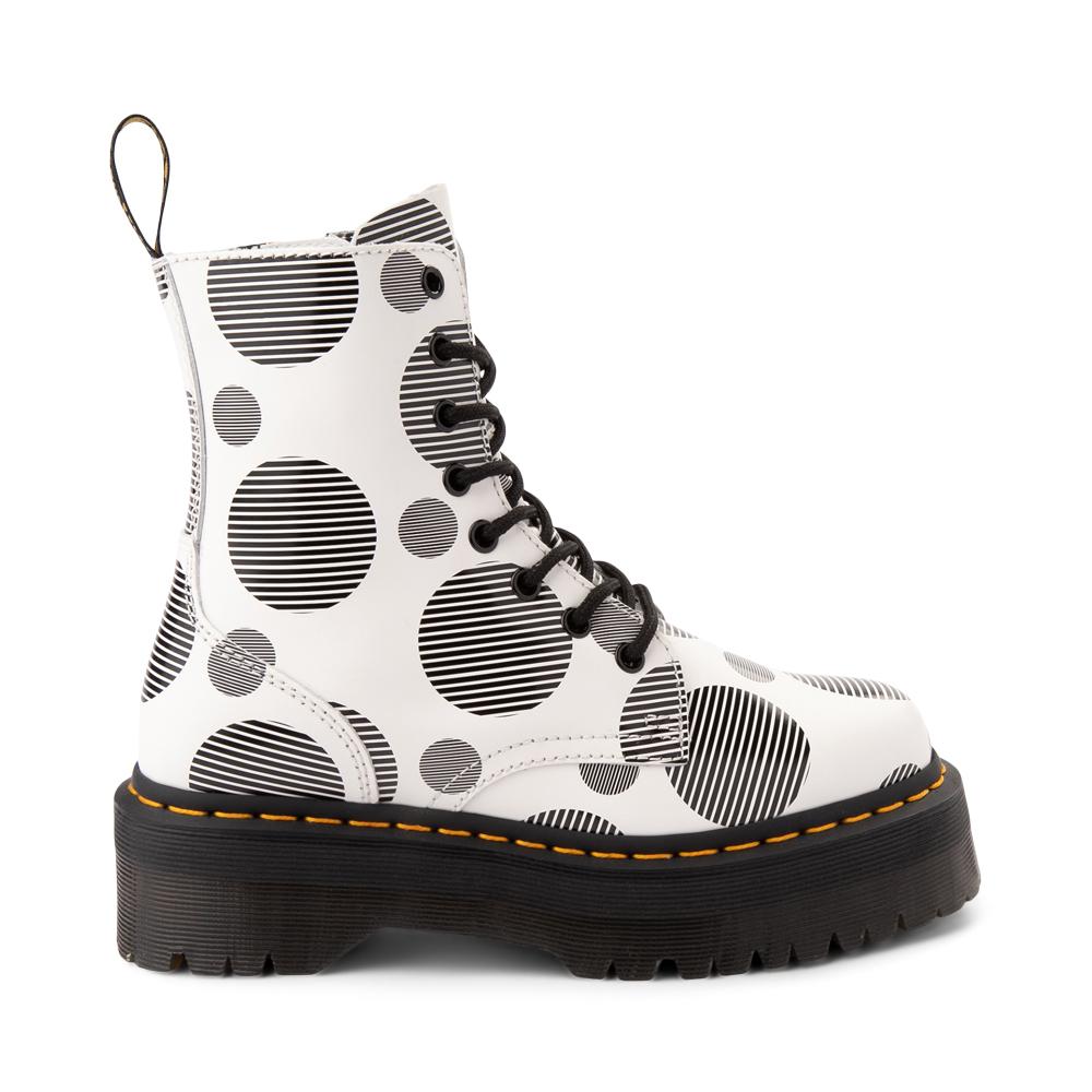 Dr. Martens Jadon Boot - White / Polka Dot