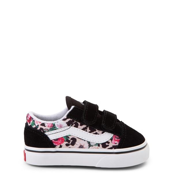 Main view of Vans Old Skool V Skate Shoe - Baby / Toddler - Black / Leopard Floral