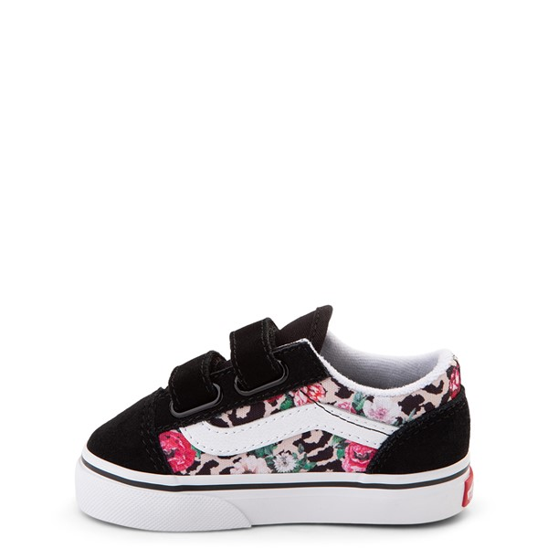 alternate view Vans Old Skool V Skate Shoe - Baby / Toddler - Black / Leopard FloralALT1