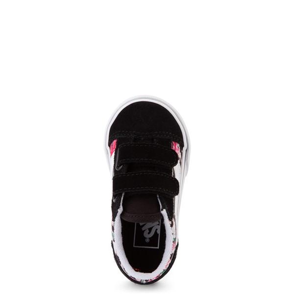 alternate view Vans Old Skool V Skate Shoe - Baby / Toddler - Black / Leopard FloralALT2
