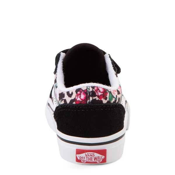 alternate view Vans Old Skool V Skate Shoe - Baby / Toddler - Black / Leopard FloralALT4