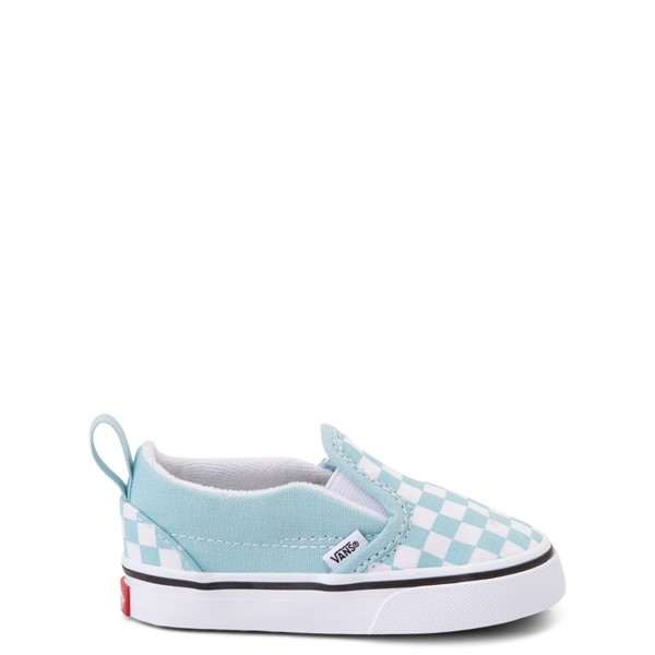 Main view of Vans Slip On V Checkerboard Skate Shoe - Baby / Toddler - Aquatic Blue