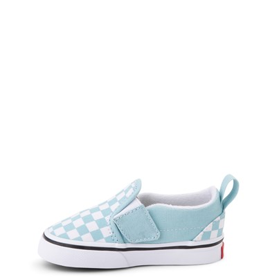 Alternate view of Vans Slip On V Checkerboard Skate Shoe - Baby / Toddler - Aquatic Blue