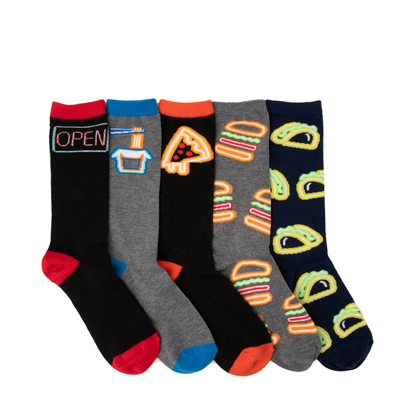 Mens Fast Food Neon Glow Crew Socks 5 Pack - Multicolor