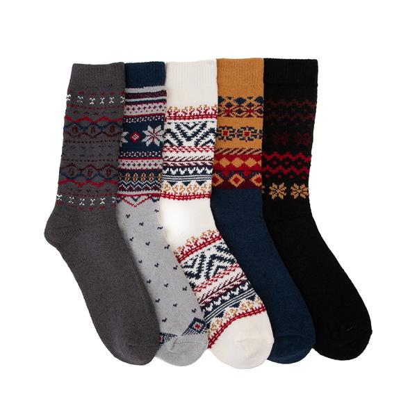 Mens Winter Sweater Crew Socks 5 Pack - Multicolor