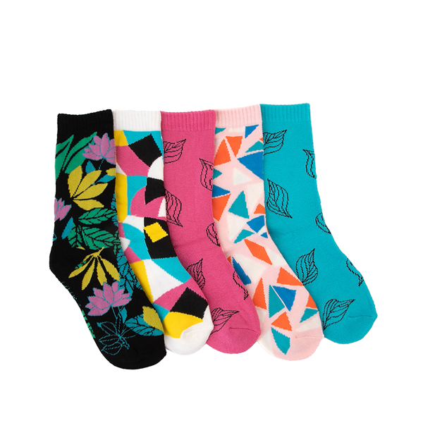 Womens Mixed Print Sweater Crew Socks 5 Pack - Multicolor