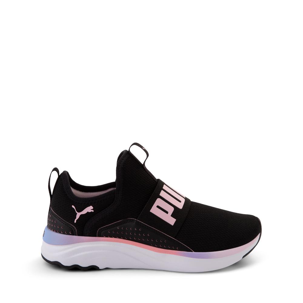 Puma SoftRide Sophia Slip On Athletic Shoe - Big Kid - Black / Pastel Multicolor