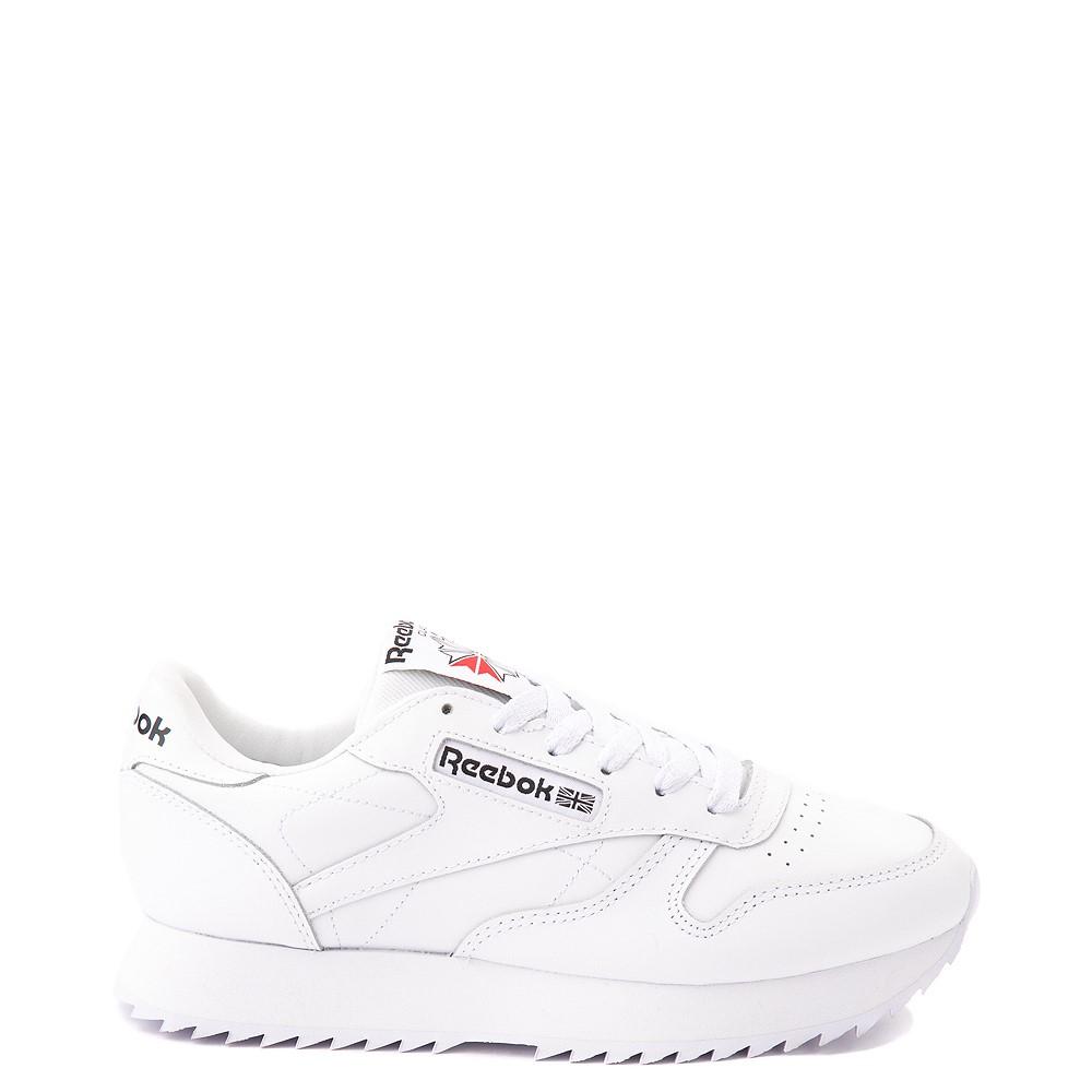 Womens Reebok Classic Leather Ripple Athletic Shoe - White Monochrome