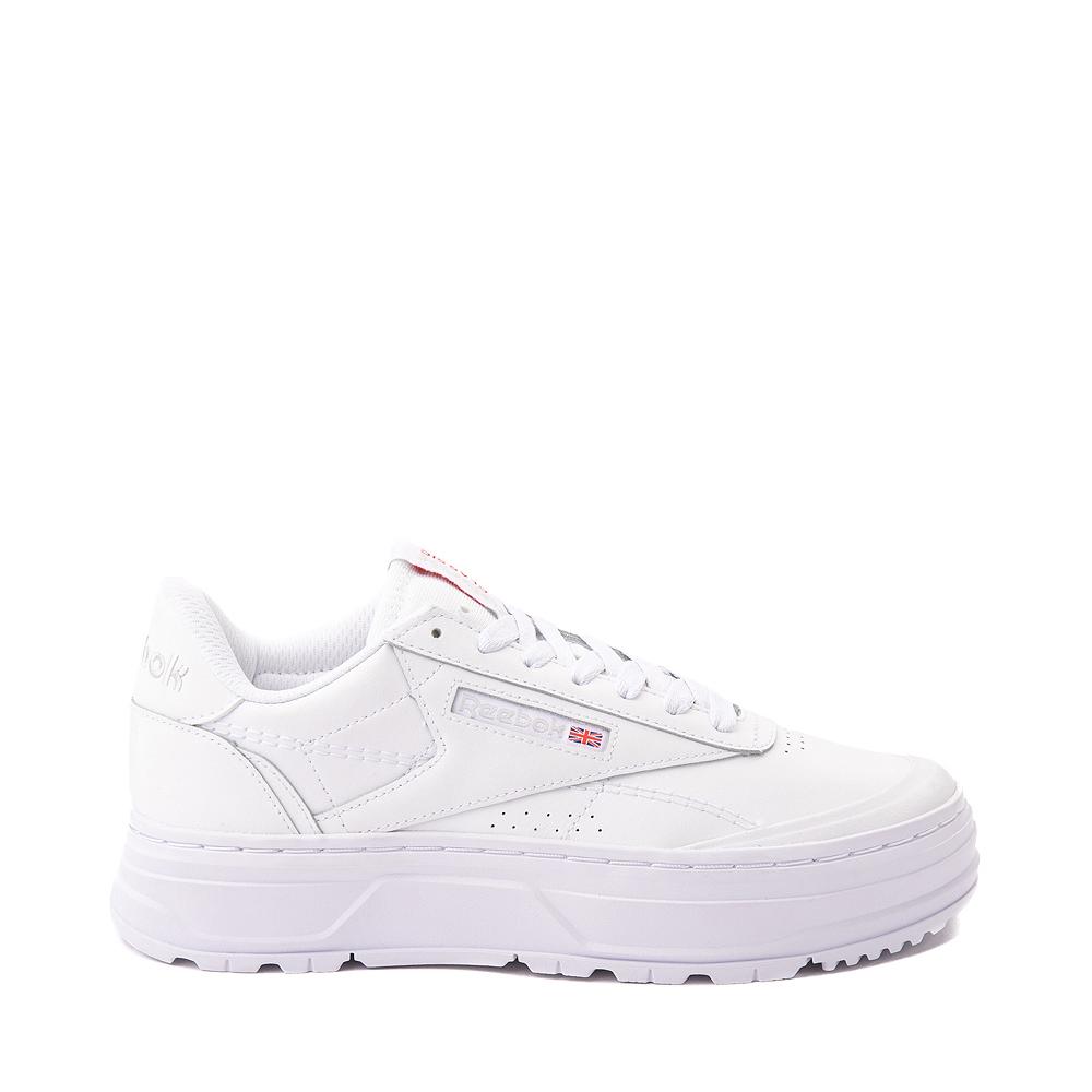 Womens Reebok Club C Double Geo Athletic Shoe - White Monochrome