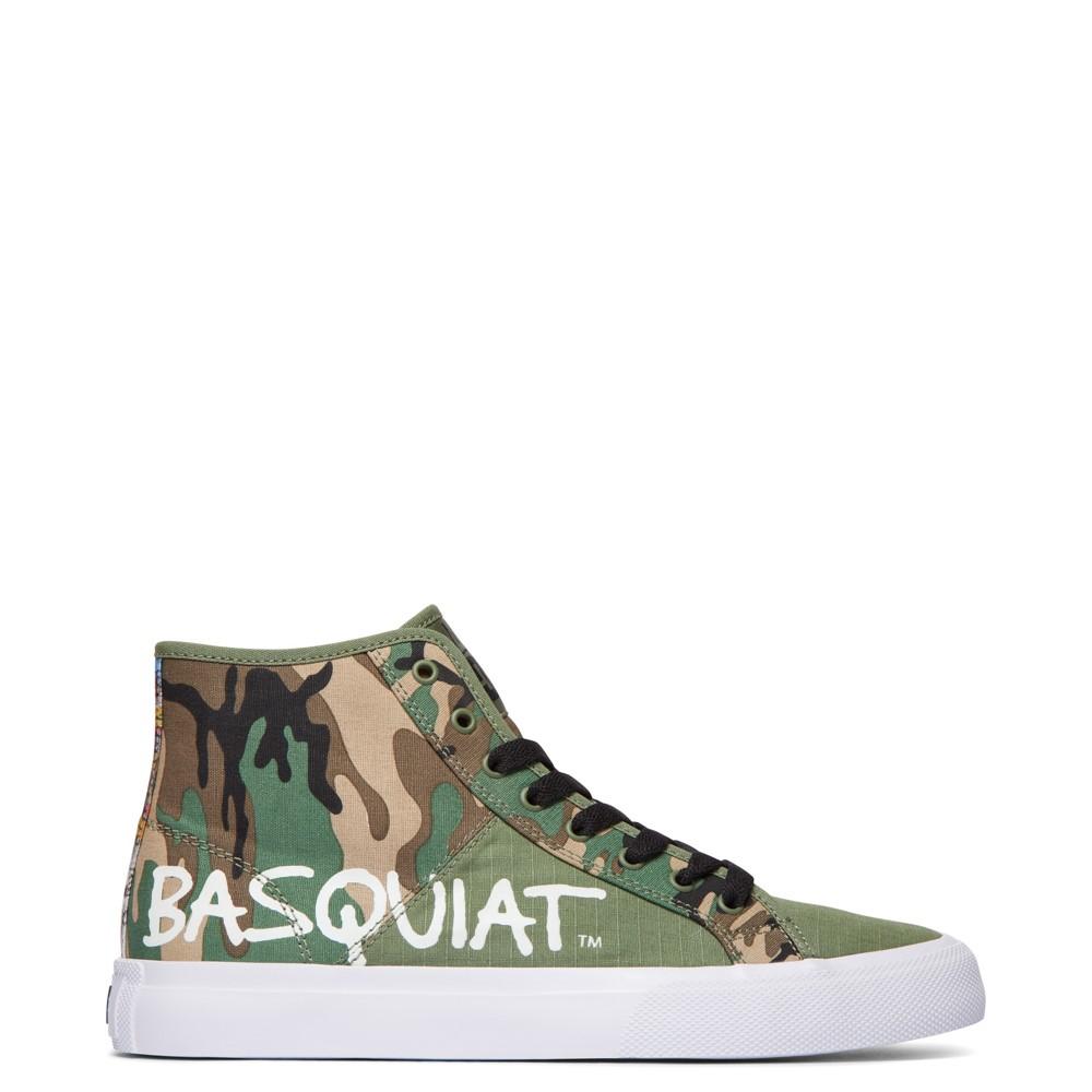 Mens DC x Basquiat Manual Hi Skate Shoe - Camo