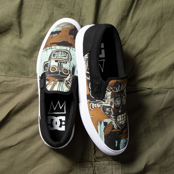 alternate view Mens DC x Basquiat Manual Slip On Skate Shoe - Black / MulticolorALT1B