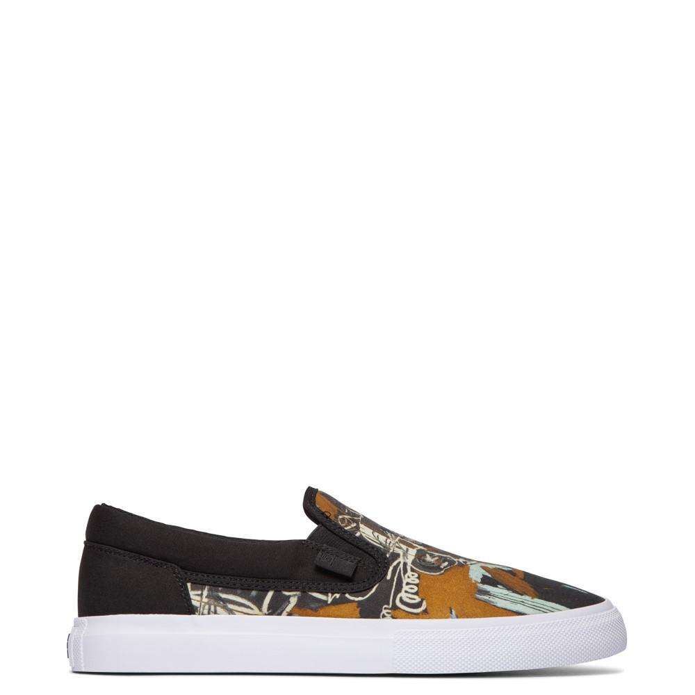 Mens DC x Basquiat Manual Slip On Skate Shoe - Black / Multicolor