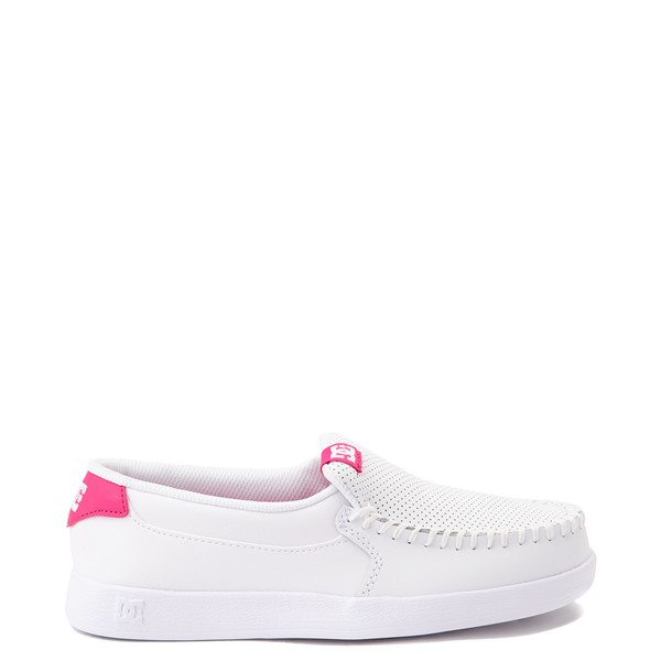 Main view of Womens DC Villain 2 Skate Shoe - White / Pink