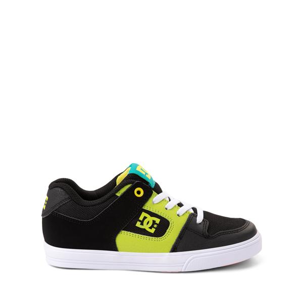 Main view of DC Pure Elastic Skate Shoe - Little Kid / Big Kid - Black / Green