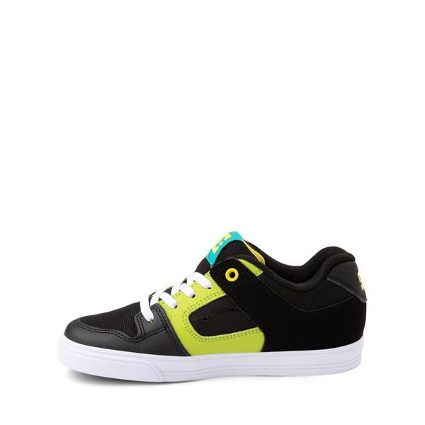 alternate view DC Pure Elastic Skate Shoe - Little Kid / Big Kid - Black / GreenALT1