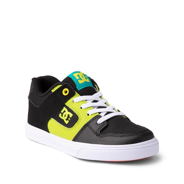alternate view DC Pure Elastic Skate Shoe - Little Kid / Big Kid - Black / GreenALT5