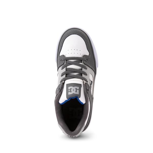alternate view DC Pure Elastic Skate Shoe - Little Kid / Big Kid - White / GrayALT2