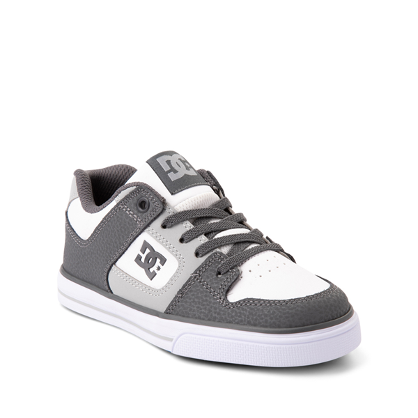 alternate view DC Pure Elastic Skate Shoe - Little Kid / Big Kid - White / GrayALT5