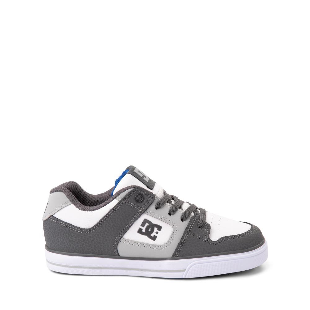 DC Pure Elastic Skate Shoe - Little Kid / Big Kid - White / Gray