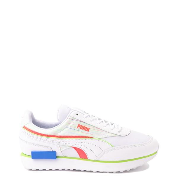 Mens Puma Future Rider Double Athletic Shoe - Spectra White / Sunblaze / Green Glare